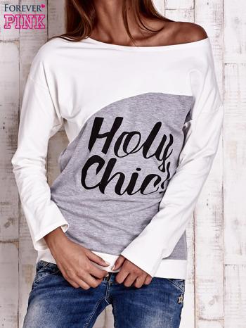Szara-ecru bluza oversize z napisem HOLY CHIC                                  zdj.                                  1