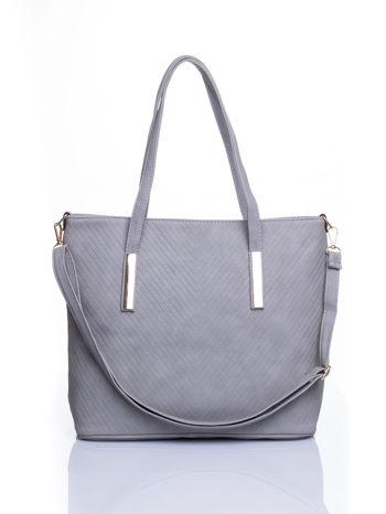 Szara fakturowana torba shopper bag