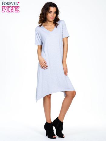 Szara luźna sukienka z asymetrycznym dołem                                  zdj.                                  1