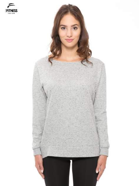 Szara melanżowa bluza dresowa z nietoperzowymi rękawami