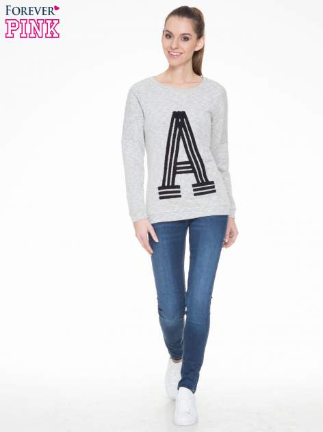 Szara melanżowa bluza z nadrukiem litery A                                  zdj.                                  2