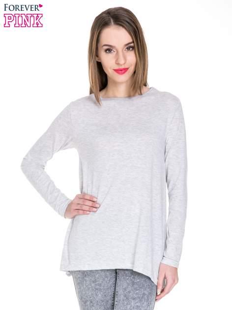 Szara melanżowa bluzka z dłuższym tyłem