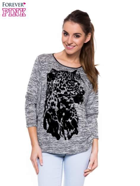 Szara melanżowa bluzka z nietoperzowymi rękawami i nadrukiem geparda                                  zdj.                                  1