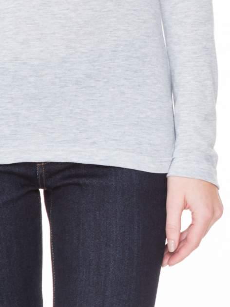 Szara melanżowa gładka bluzka z reglanowymi rękawami                                  zdj.                                  4