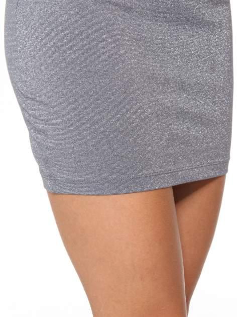 Szara mini spódniczka przeplatana srebrną nicią                                  zdj.                                  10