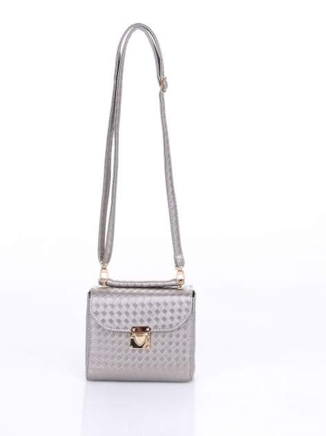 Szara pikowana mini torebka kuferek w stylu retro                                  zdj.                                  5