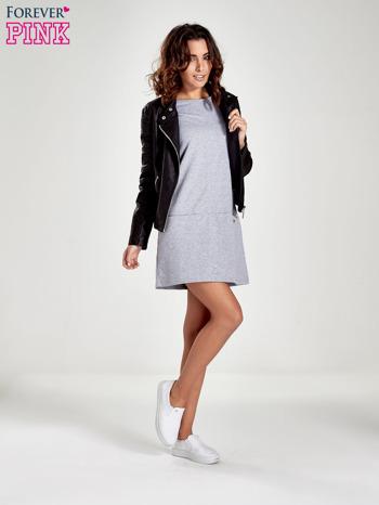 Szara prosta sukienka z kieszeniami                                   zdj.                                  2