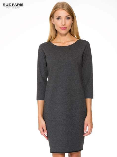 Szara prosta sukienka z surowym wykończeniem i kieszeniami                                  zdj.                                  1