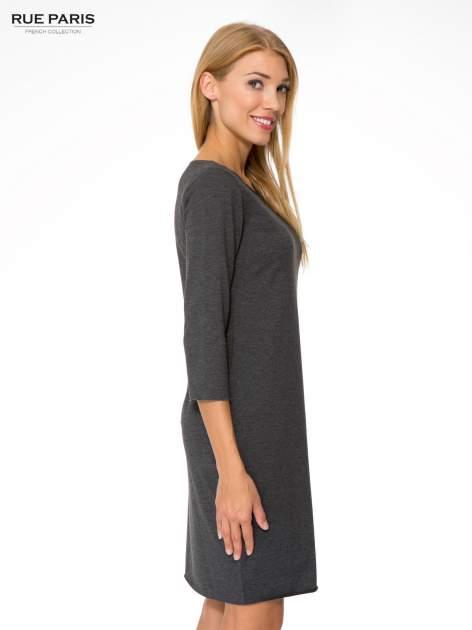 Szara prosta sukienka z surowym wykończeniem i kieszeniami                                  zdj.                                  3