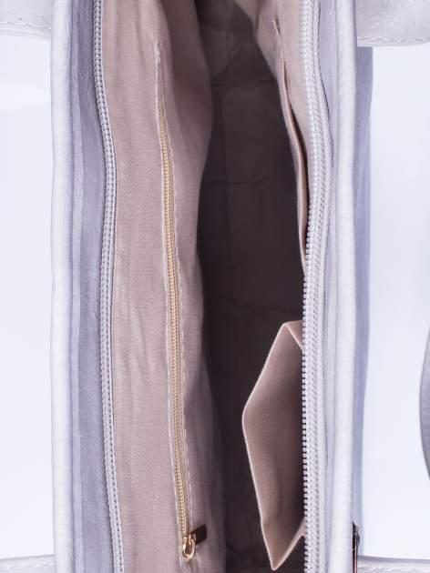 Szara prosta torba shopper bag ze złotymi okuciami                                  zdj.                                  4