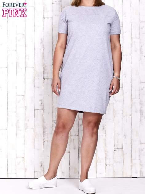 Szara sukienka dresowa ze ściągaczem na dole                                  zdj.                                  2