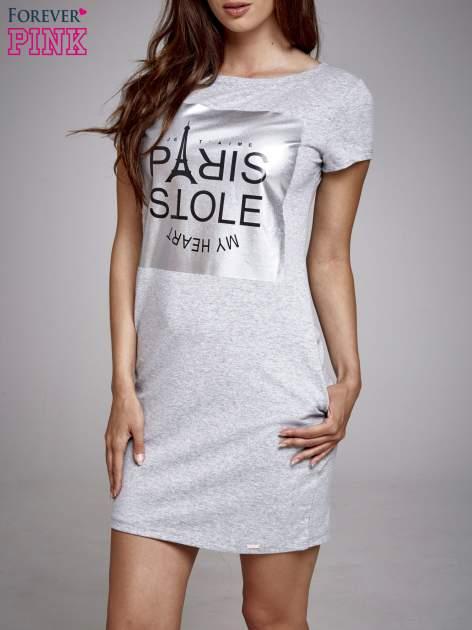 Szara sukienka dresowa ze srebrnym printem PARIS                                  zdj.                                  1