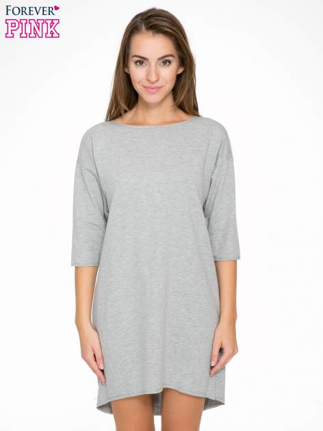 Szara sukienka oversize z surowym wykończeniem                                  zdj.                                  1
