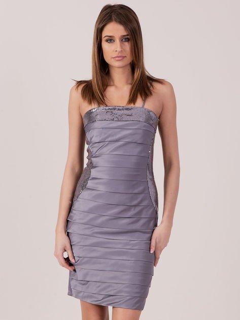 Szara sukienka z cekinowymi modułami                               zdj.                              1