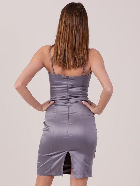 Szara sukienka z cekinowymi modułami                               zdj.                              3