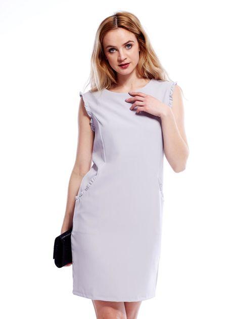 Szara sukienka z drobnymi falbankami                              zdj.                              1