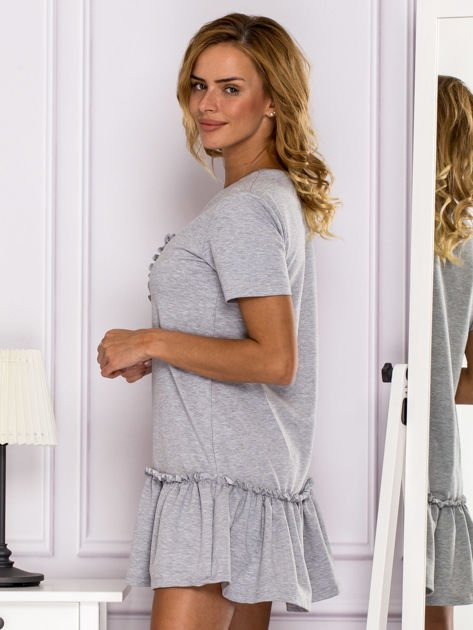 Szara sukienka z falbaną                                  zdj.                                  5