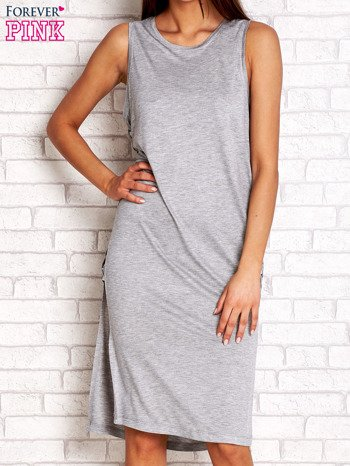 Szara sukienka z plecionymi wstawkami z boku