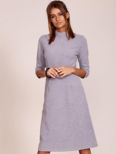 Szara sukienka z półgolfem                              zdj.                              1