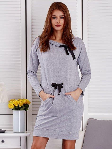 Szara sukienka z wstążkami                               zdj.                              1