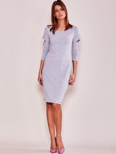 Szara sukienka z wycięciami cut out                               zdj.                              4