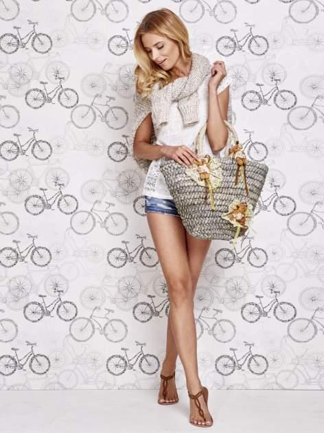 Szara  torba koszyk plażowy z kwiatami                                  zdj.                                  1