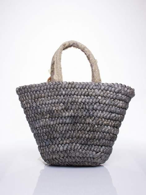 Szara  torba koszyk plażowy z kwiatami                                  zdj.                                  4