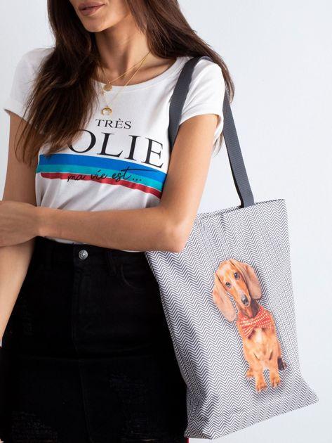 Szara torba materiałowa z nadrukiem psa                              zdj.                              2