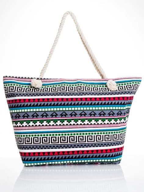 Szara torba plażowa w azteckie wzory                                  zdj.                                  5
