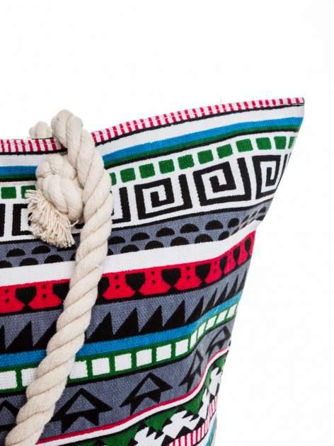 Szara torba plażowa w azteckie wzory                                  zdj.                                  8