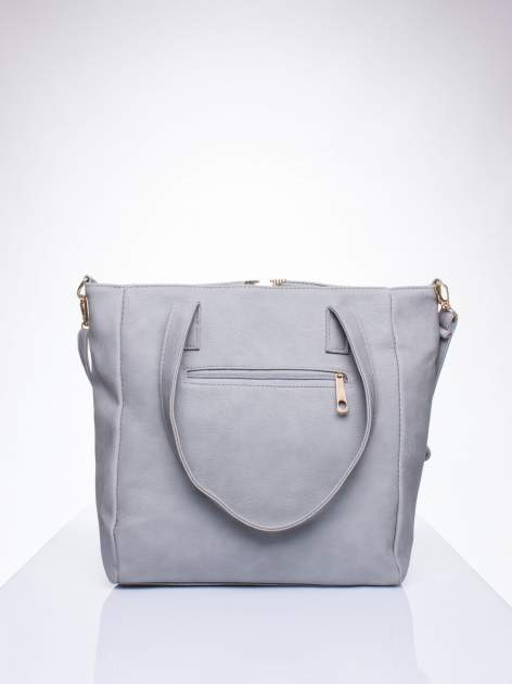 Szara torba shopper bag ze kieszeniami na klapki                                  zdj.                                  3
