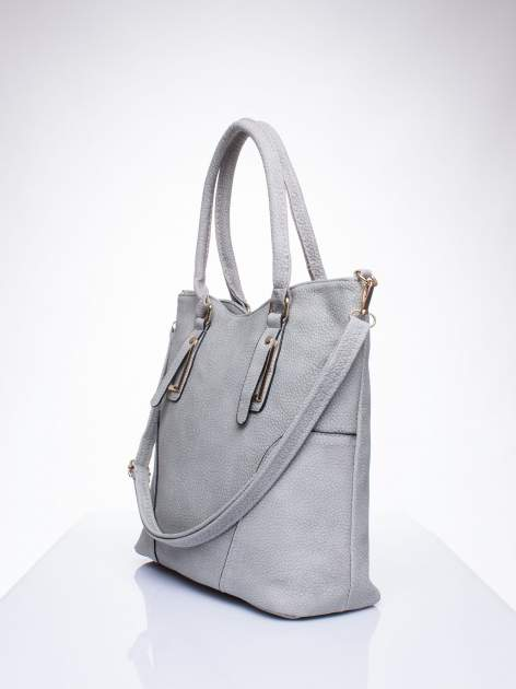Szara torba shopper bag ze złotymi okuciami przy rączkach                                  zdj.                                  2