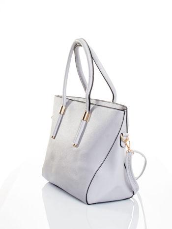 Szara torba shopper efekt saffiano                                  zdj.                                  4