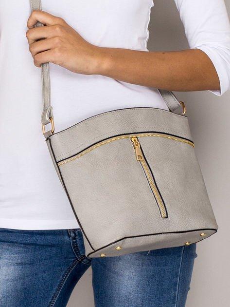 Szara torebka ze złotymi suwakami                                  zdj.                                  1
