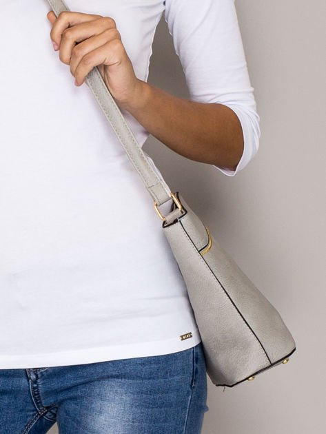 Szara torebka ze złotymi suwakami                                  zdj.                                  2