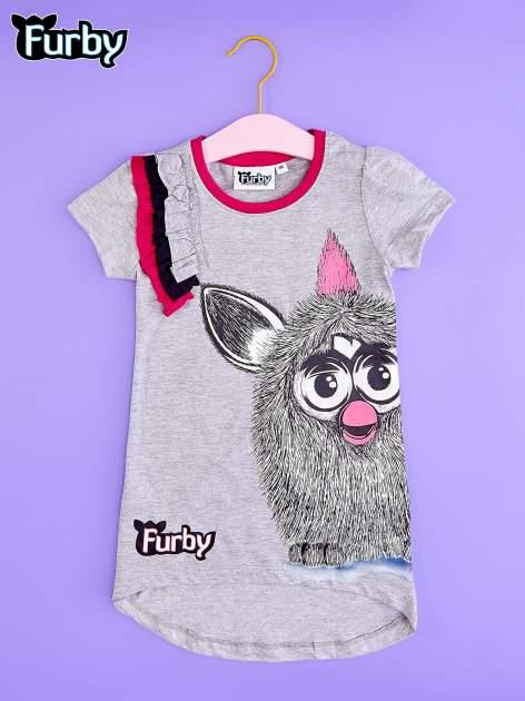 Szara tunika dla dziewczynki z nadrukiem FURBY                                  zdj.                                  1