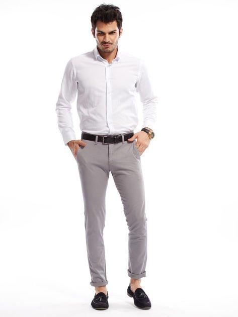 Szare bawełniane spodnie męskie chinosy                               zdj.                              4