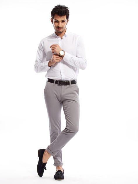 Szare bawełniane spodnie męskie chinosy                               zdj.                              10