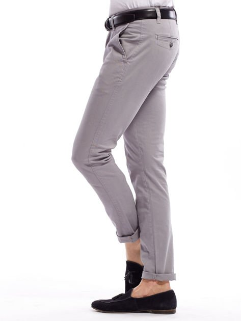 Szare bawełniane spodnie męskie chinosy                               zdj.                              8