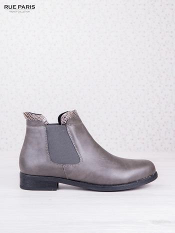 Szare botki faux leather Bella na płaskim obcasie z wężową wstawką na cholewce                                  zdj.                                  1