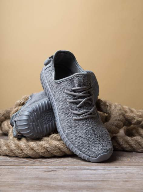 Szare buty sportowe z tkaniny textile Be Active z uchwytem z tyłu                                  zdj.                                  4