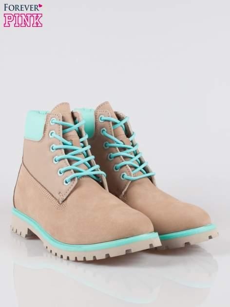 Szare buty trekkingowe traperki damskie ze skóry naturalnej                                  zdj.                                  2