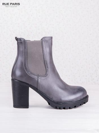 Szare cieniowane botki faux leather z gumkowaną wstawką na słupku                                  zdj.                                  1