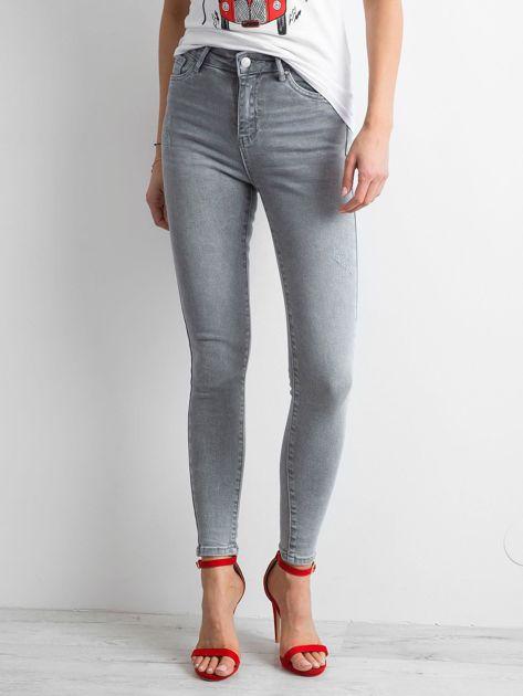 Szare damskie jeansy high waist                              zdj.                              1