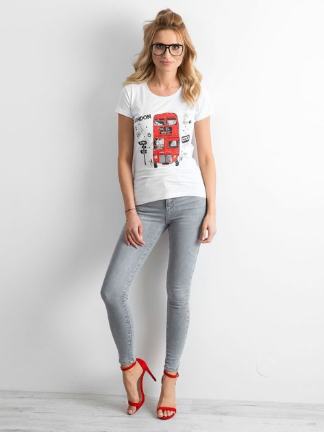 Szare damskie jeansy high waist                              zdj.                              4