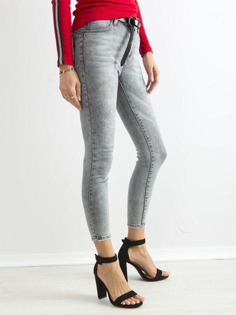 Szare jeansowe rurki skinny z wysokim stanem                              zdj.                              3