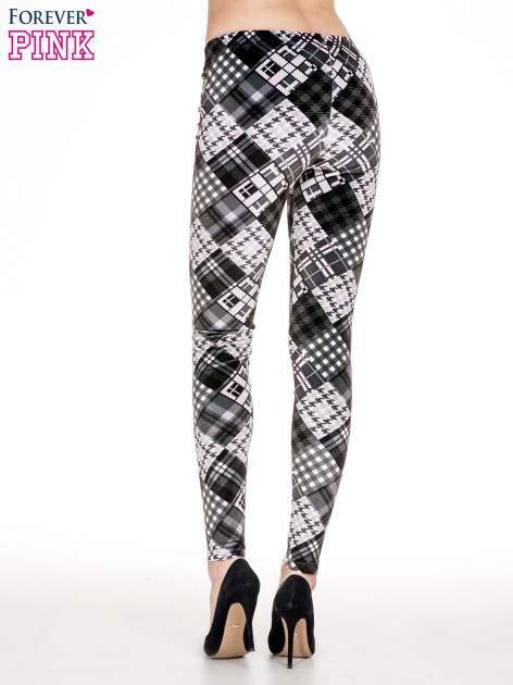 Szare legginsy w patchworkowe wzory w kratę                                  zdj.                                  4