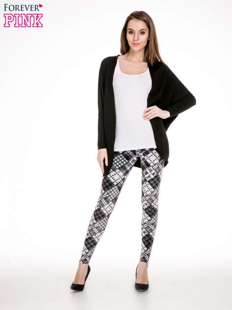 Szare legginsy w patchworkowe wzory w kratę                                  zdj.                                  2