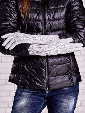 Szare rękawiczki o warkoczowym splocie z błyszczącą nicią                                  zdj.                                  2