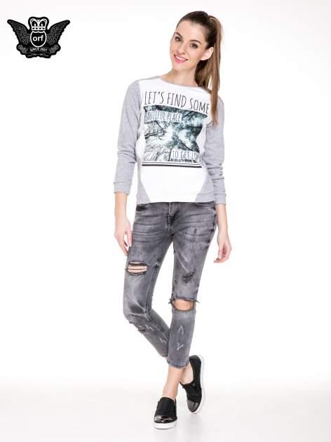 Szare rozjaśniane spodnie jeansowe 7/8 z rozdarciami                                  zdj.                                  4